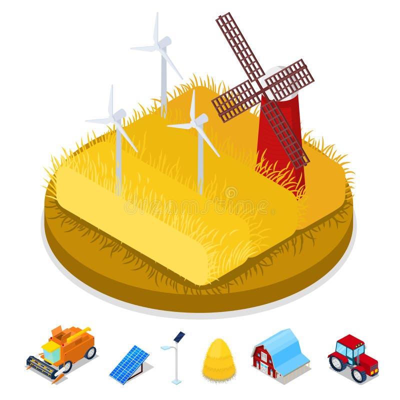 Concepto isométrico de la ecología Molino de viento de la energía renovable Industria de la agricultura stock de ilustración