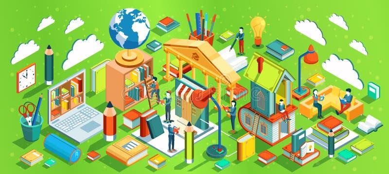 Concepto isométrico de la educación en fondo verde Libros de lectura de la gente Proceso de aprendizaje Vector ilustración del vector