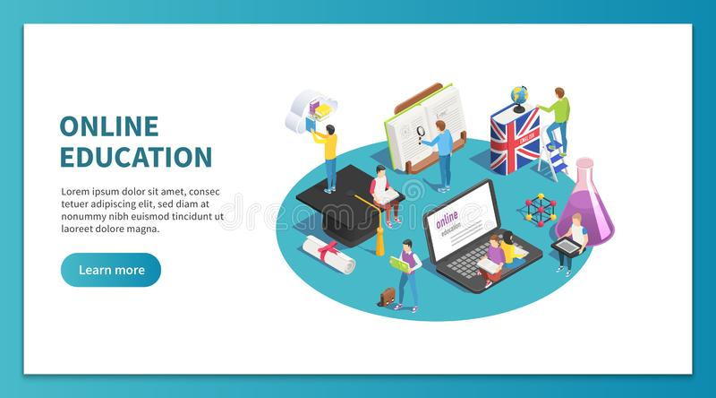 Concepto isométrico de la educación en línea El estudiar de Internet y curso de la web Aprendizaje de vector de aterrizaje de la  stock de ilustración