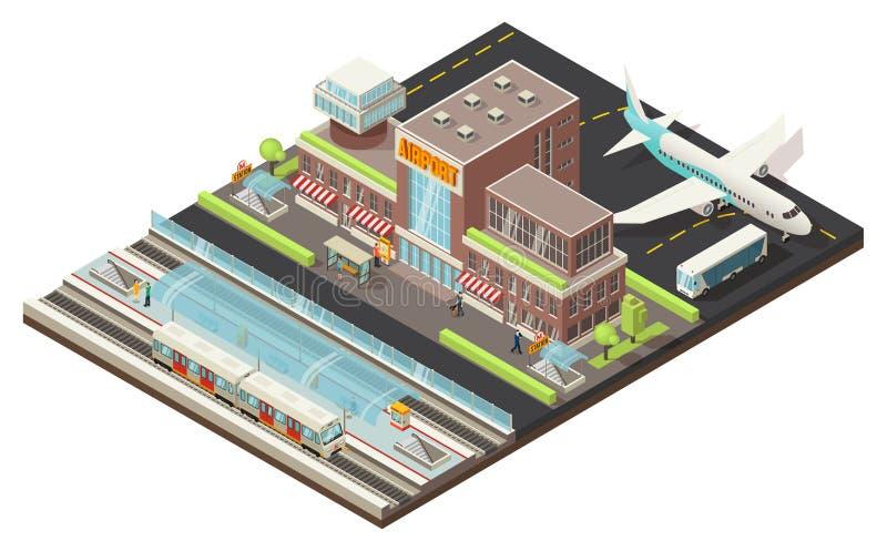 Concepto isométrico de la estación del aeropuerto y de metro stock de ilustración