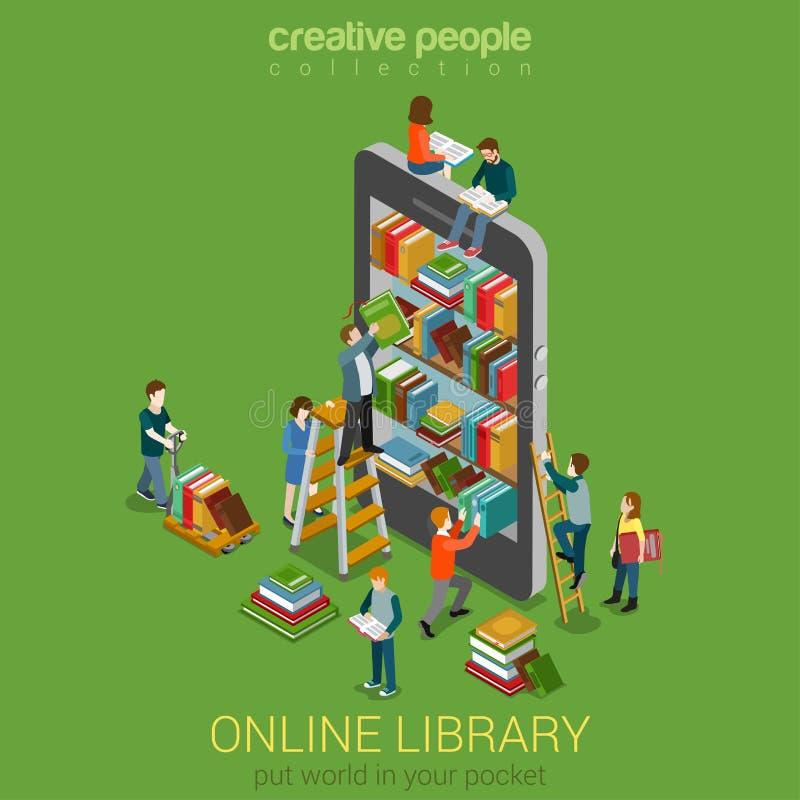 Concepto isométrico de la gente micro en línea de la biblioteca móvil stock de ilustración