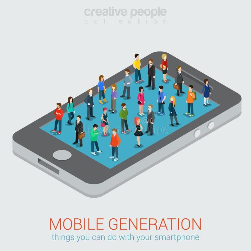 Concepto isométrico de la gente micro móvil de la generación ilustración del vector
