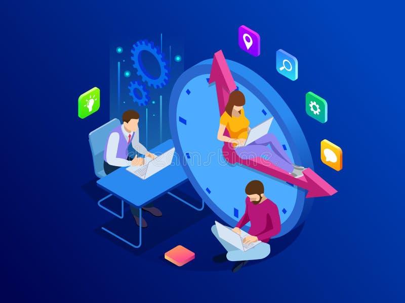 Concepto isométrico de la gestión de tiempo eficaz Los hombres de negocios de los planes y organizan la hora laborable, plazos de libre illustration
