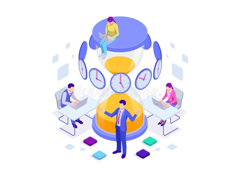 Concepto isométrico de la gestión de tiempo eficaz Gestión de tiempo, planeamiento, y organización de hora laborable stock de ilustración
