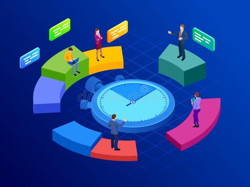 Concepto isométrico de la gestión de tiempo eficaz Gestión de tiempo, planeamiento, y organización de hora laborable ilustración del vector