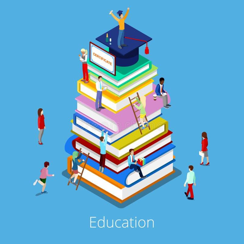 Concepto isométrico de la graduación de la educación con la pila de libros y de estudiantes stock de ilustración
