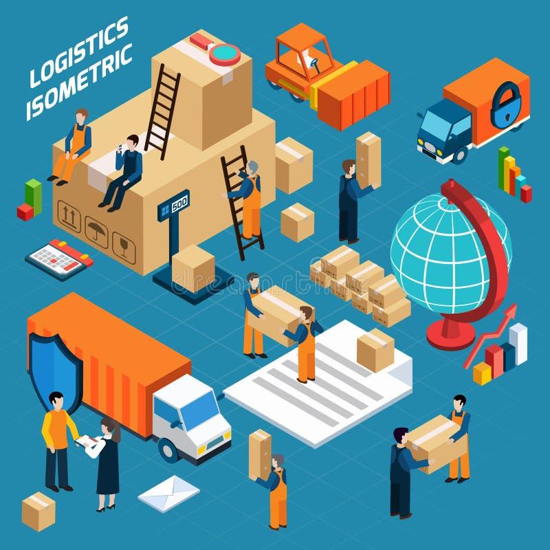 Concepto isométrico de la logística de Warehouse stock de ilustración