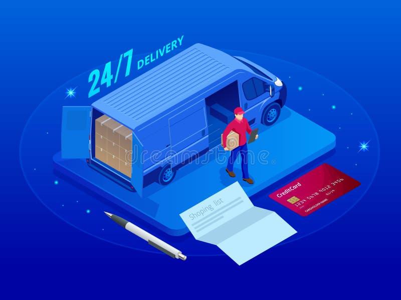 Concepto isométrico de la logística y de la entrega 24-7 Hogar y oficina de la entrega Logística de la ciudad Camión de reparto c ilustración del vector
