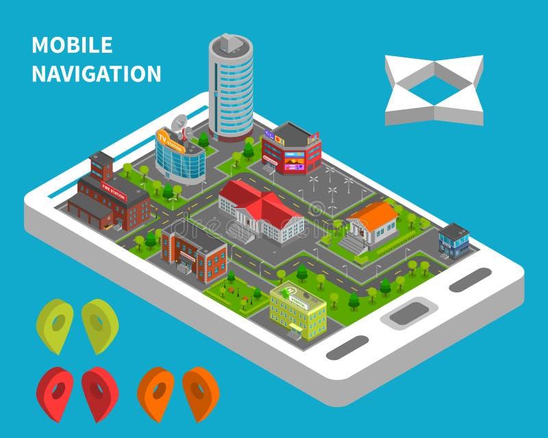 Concepto isométrico de la navegación móvil stock de ilustración