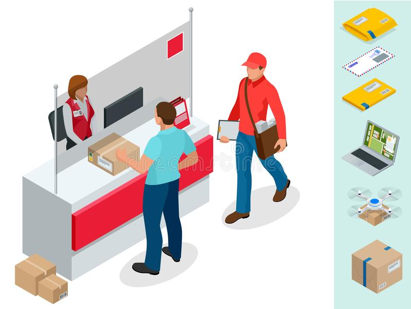 Concepto isométrico de la oficina de correos Hombre joven que espera un paquete en una oficina de correos Vector aislado correspo stock de ilustración