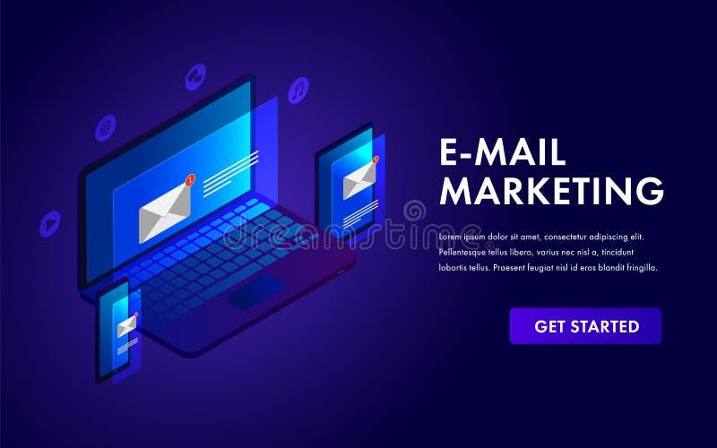 Concepto isométrico de la plantilla del márketing del correo electrónico para la campaña publicitaria, alcanzando el público obje ilustración del vector