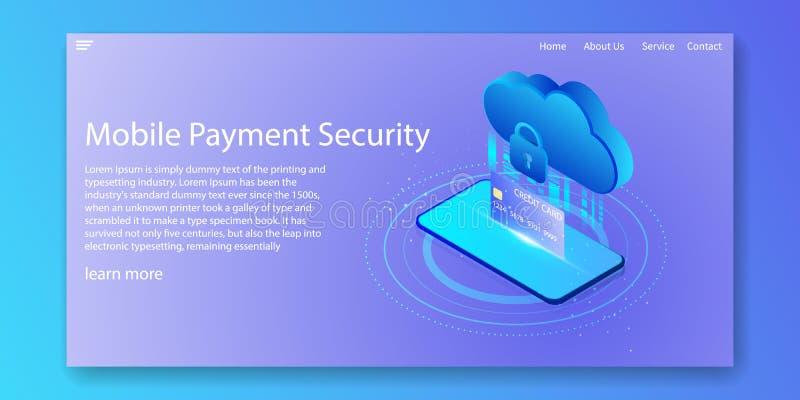Concepto isométrico de la seguridad móvil del pago Tarjeta de crédito de los servicios de la encripción de datos de la nube Dise? ilustración del vector
