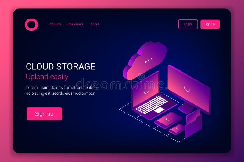 Concepto isométrico de la tecnología del almacenamiento 3d de la nube libre illustration
