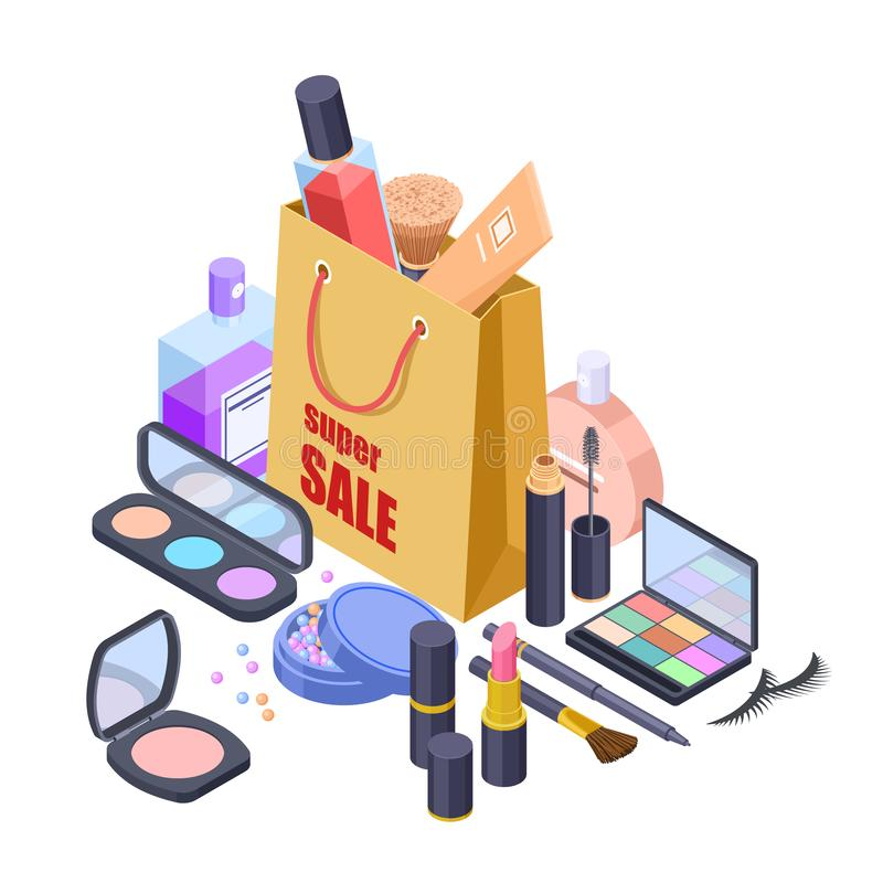 Concepto isométrico de la venta del shoppig del vector cosmético del bolso ilustración del vector