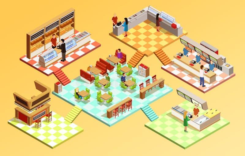 Concepto isométrico de la zona de restaurantes stock de ilustración