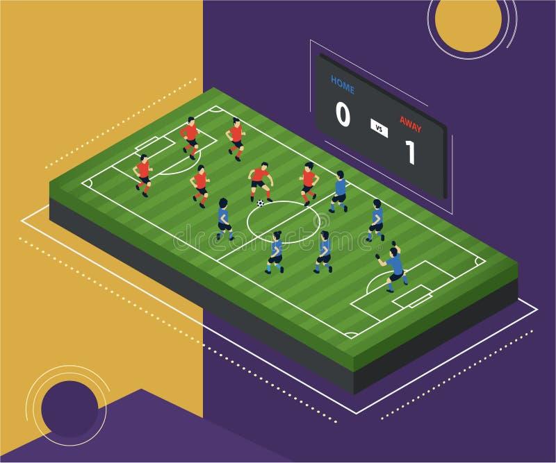 Concepto isométrico de las ilustraciones del campo de fútbol stock de ilustración