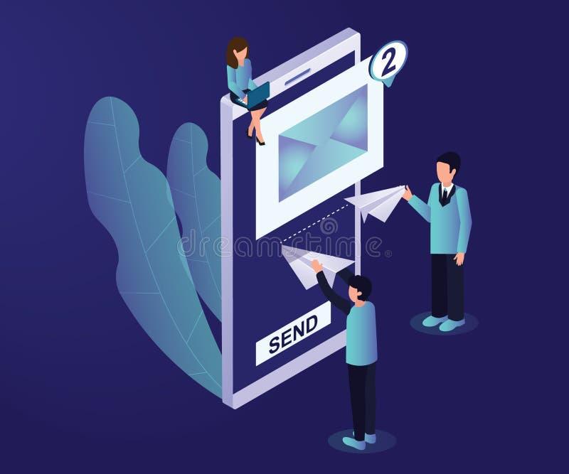 Concepto isométrico de las ilustraciones del márketing en línea del correo electrónico libre illustration