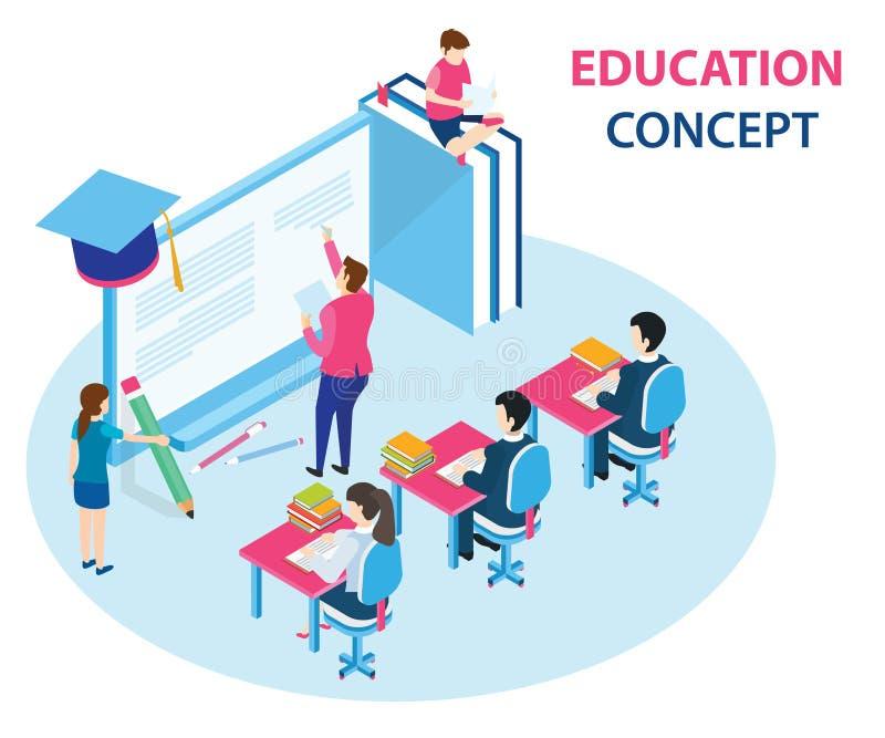Concepto isométrico de las ilustraciones de educación en línea donde los estudiantes están aprendiendo de un ordenador ilustración del vector