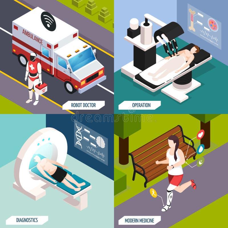 Concepto isométrico de las tecnologías médicas stock de ilustración