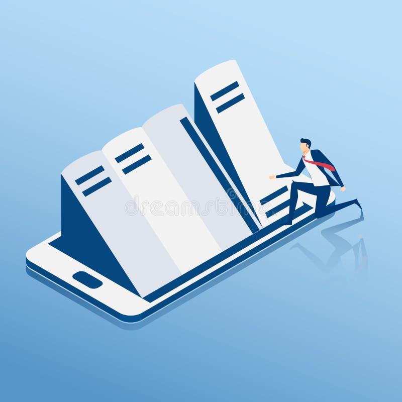 concepto isométrico de los E-libros Biblioteca móvil en línea en teléfono elegante Hombre de negocios que elige los libros en el  ilustración del vector
