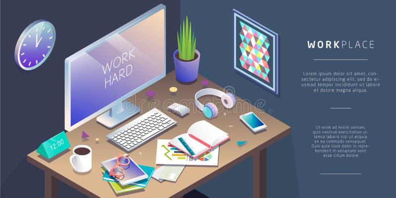 Concepto isométrico de lugar de trabajo con el ordenador y el mobiliario de oficinas libre illustration