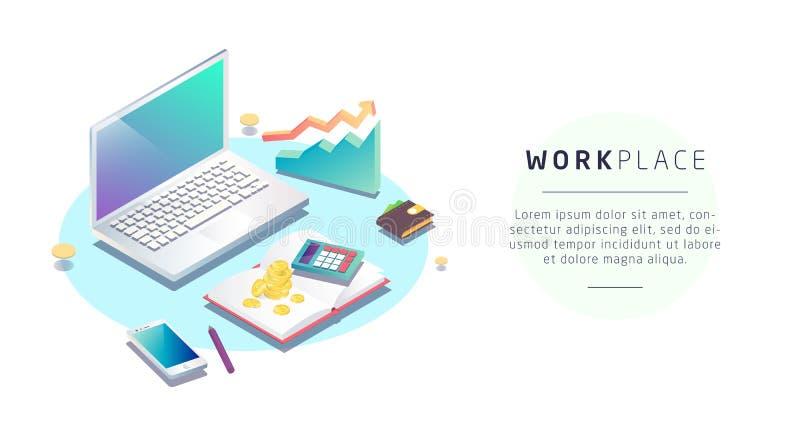 Concepto isométrico de lugar de trabajo con el ordenador y el mobiliario de oficinas ilustración del vector