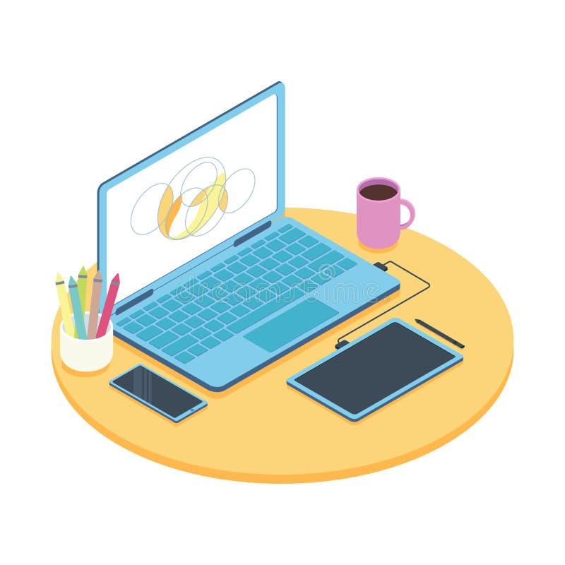 Concepto isométrico de lugar de trabajo del diseñador con el ordenador y la tableta de gráficos ilustración del vector