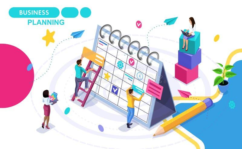 Concepto isométrico de planificación de empresas, elaborando negocio de los horario del desarrollo Gente isométrica en el movimie ilustración del vector