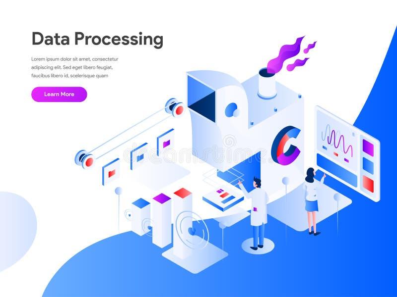 Concepto isométrico de proceso de datos del ejemplo r ilustración del vector