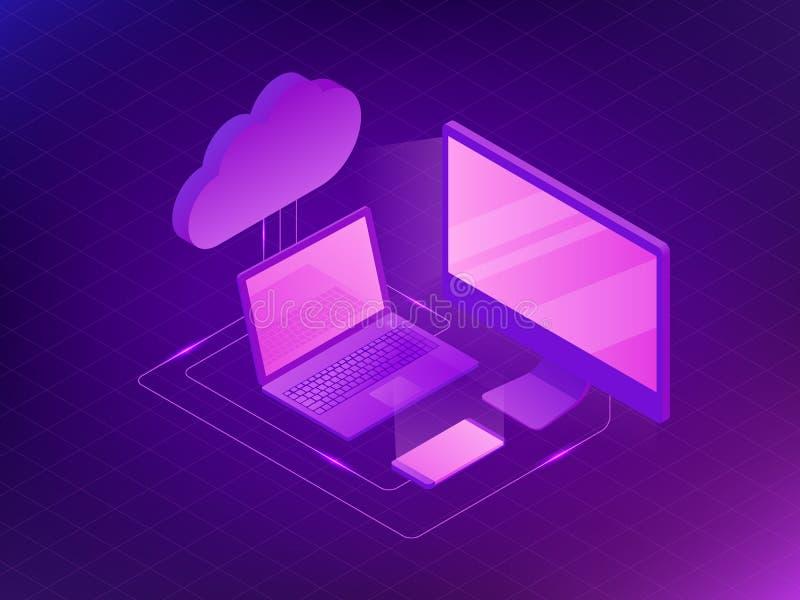 Concepto isométrico del almacenamiento de la nube Ordenador, ordenador portátil, Smartphone en el fondo ultravioleta libre illustration