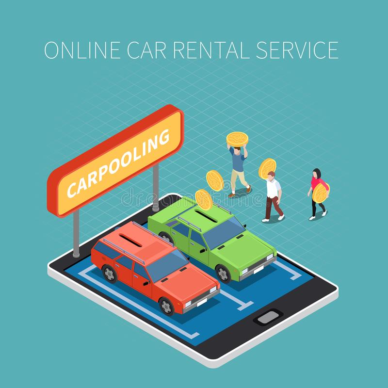 Concepto isométrico del alquiler de coches libre illustration