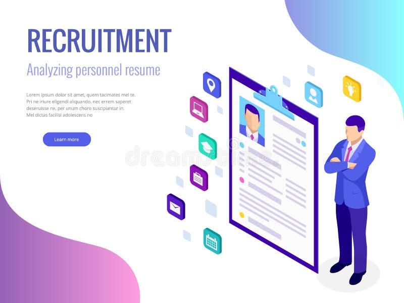 Concepto isométrico del alquiler y del reclutamiento para la página web, bandera, presentación Entrevista de trabajo, vector de l libre illustration
