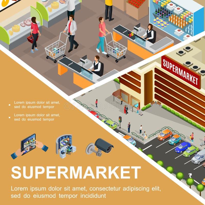 Concepto isométrico del centro comercial stock de ilustración