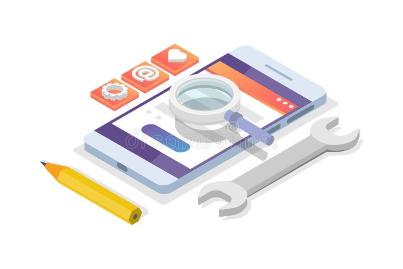 Concepto isométrico del desarrollo móvil del App Plantilla de aterrizaje de la página ilustración del vector