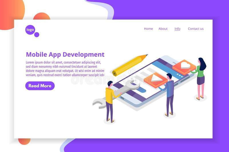 Concepto isométrico del desarrollo móvil del App Plantilla de aterrizaje de la página libre illustration