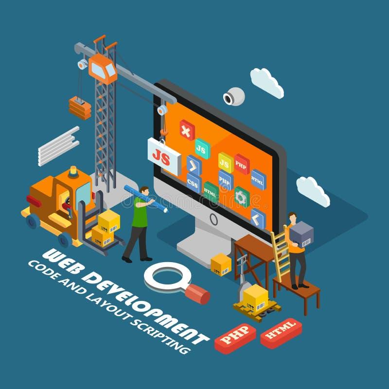 Concepto isométrico del desarrollo web ilustración del vector