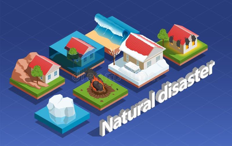 Concepto isométrico del desastre natural ilustración del vector