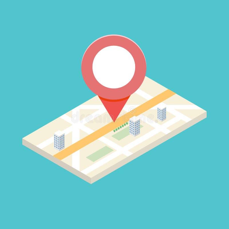 concepto isométrico del icono de 3d GPS para la aplicación móvil ilustración del vector