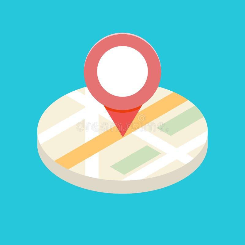 concepto isométrico del icono de 3d GPS para la aplicación móvil stock de ilustración