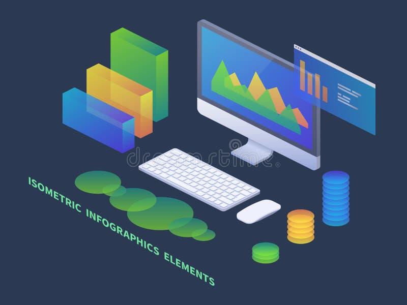 Concepto isométrico del infographics del negocio PC del vector 3d con las cartas de los datos y los diagramas de las estadísticas ilustración del vector