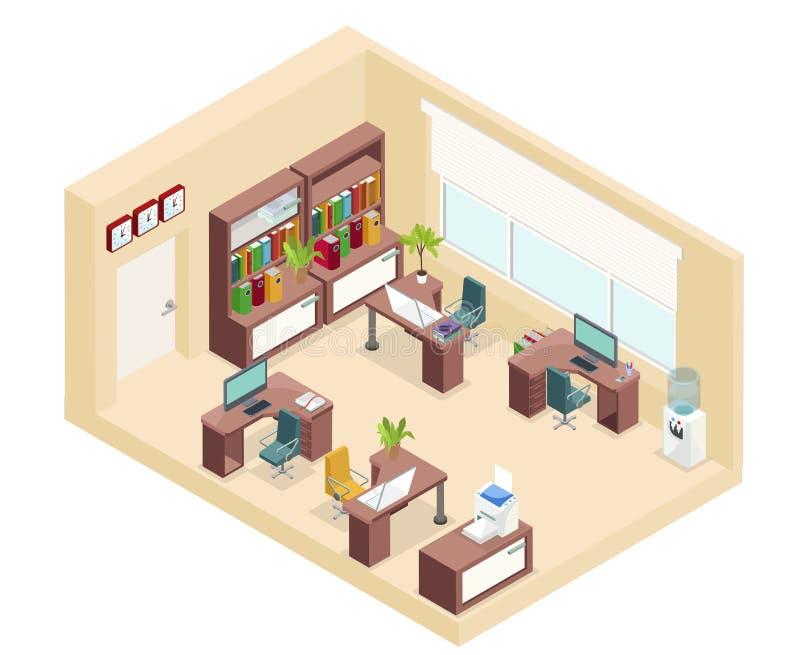 Concepto isométrico del lugar de trabajo de la oficina ilustración del vector