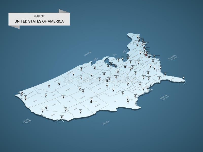 Concepto isométrico del mapa del vector de 3D los Estados Unidos de América libre illustration