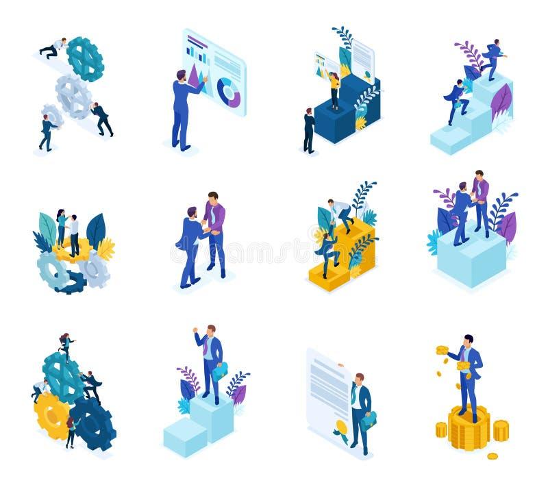 Concepto isométrico del mecanismo de la operación comercial, datos del Analytics, alcanzar la meta Para la página web y el móvil libre illustration