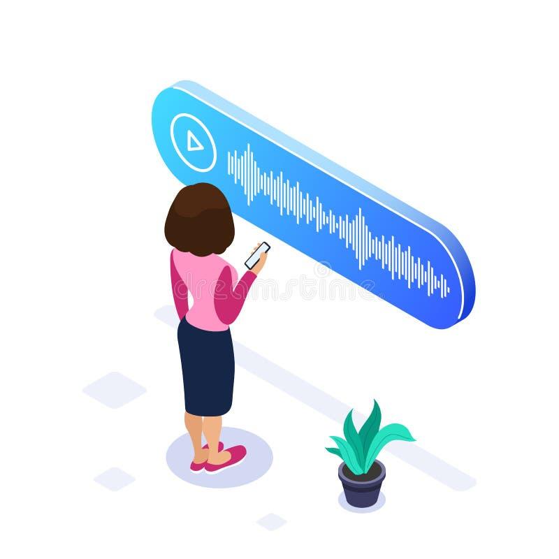 concepto isométrico del mensaje de la voz 3d La mujer escucha un mensaje de la voz recibió en un teléfono móvil El uso de moderno libre illustration
