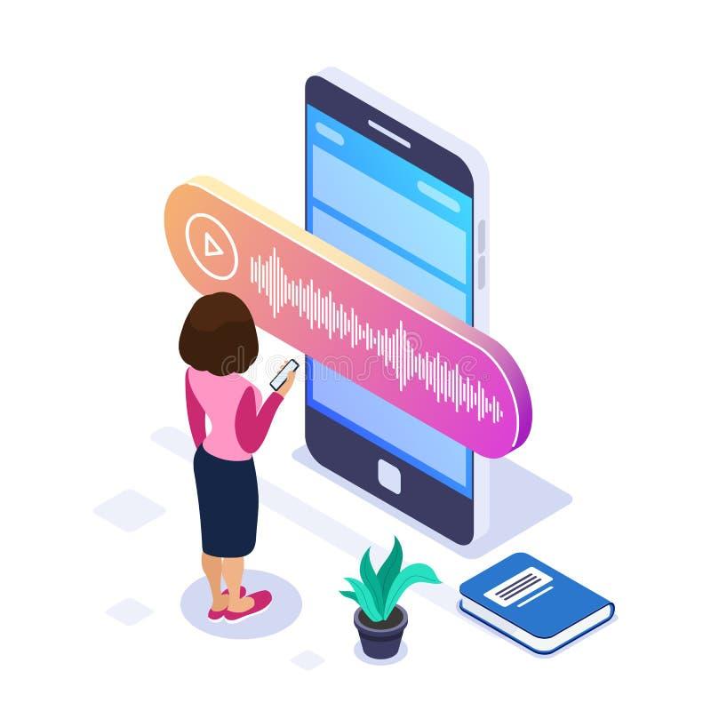 concepto isométrico del mensaje de la voz 3d La persona registra o escucha un mensaje de la voz usando un teléfono grande Libros  stock de ilustración