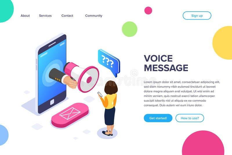Concepto isométrico del mensaje de la voz Megáfono a disposición Una mujer escucha un mensaje de la voz en el teléfono Botón del  stock de ilustración