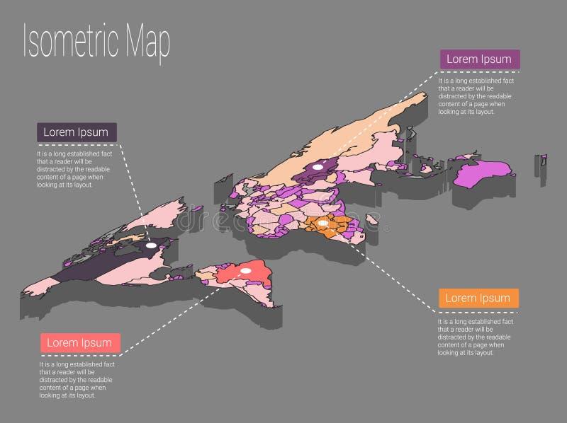 Concepto isométrico del mundo del mapa ejemplo plano 3d stock de ilustración