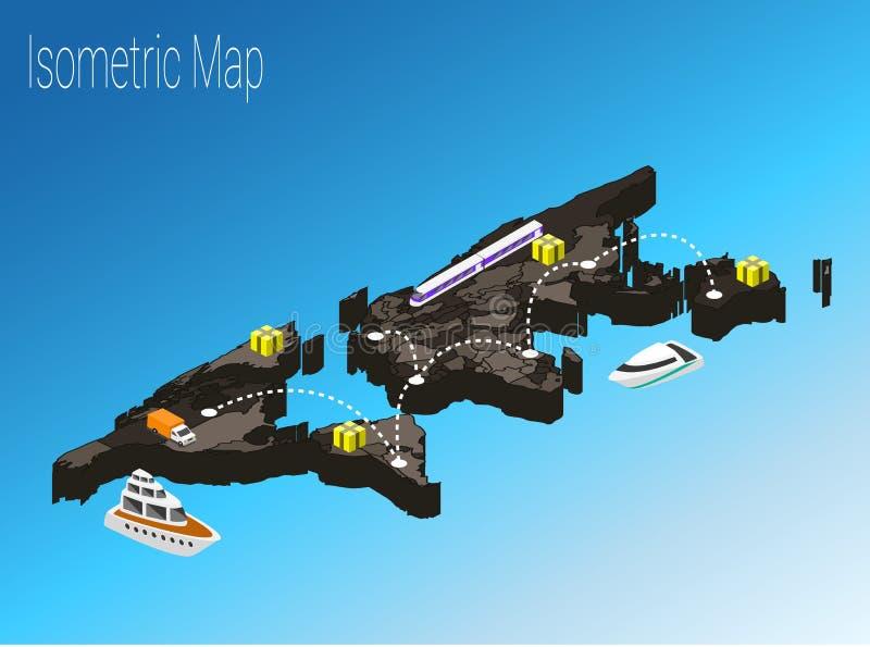 Concepto isométrico del mundo del mapa ejemplo plano 3d libre illustration