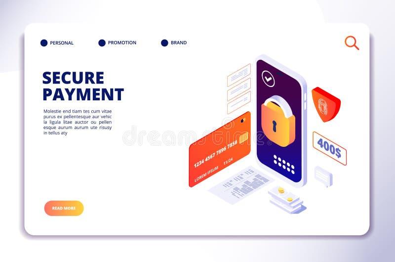 Concepto isométrico del pago seguro Pagos al contado en línea móviles de la seguridad, app de la protección de las actividades ba stock de ilustración