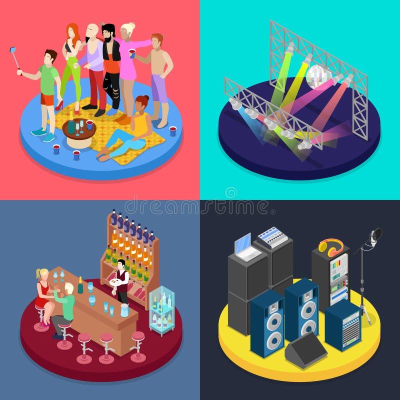 Concepto isométrico del partido Escena del club de noche, barra, celebración corporativa ilustración del vector